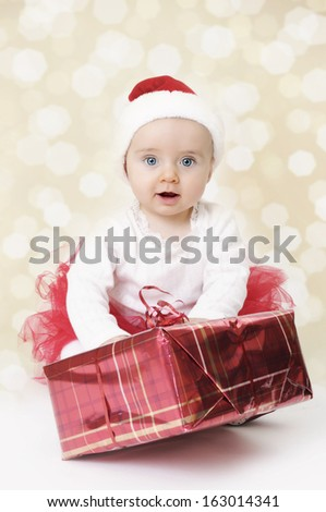 Christmas Baby Girl - stock photo