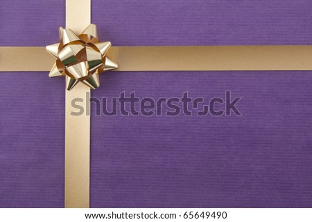 Christmas back ground with gold ribbon on - stock photo