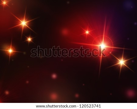 christmas background, abstract shining stars with red rays lights, lens flare - stock photo