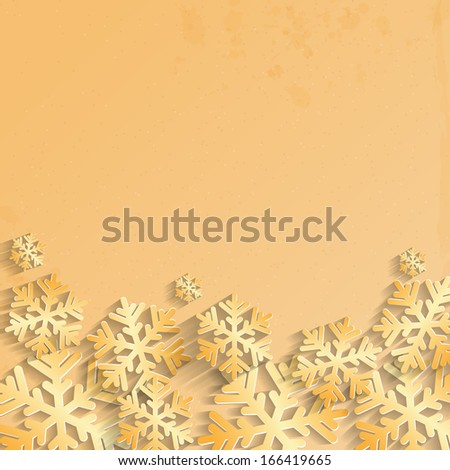 Christmas background.background for New Year's greetings.winter abstraction.gold snowflakes on grunge background.raster