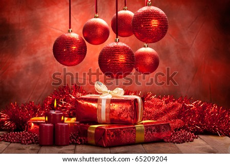 Christmas background - balls, candles and gifts - stock photo
