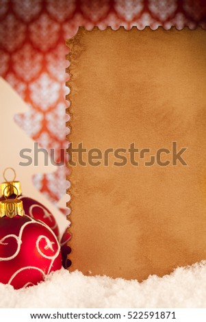 Christmas background - baubles and blank paper card