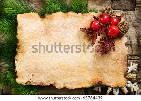 Christmas Background.Blank Old Paper Sheet with Decoration - stock photo