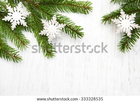 christmas background - christmas decor on the wooden background - stock photo