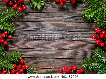 christmas background, christmas decoration on the wooden table