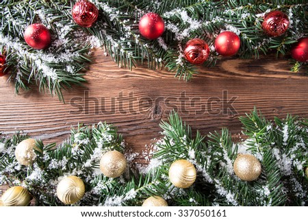 Christmas background, Christmas fir tree with decoration on a wooden board