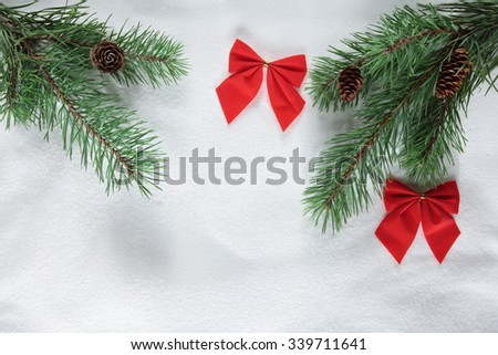 Christmas background/ christmas tree branch/ white snow