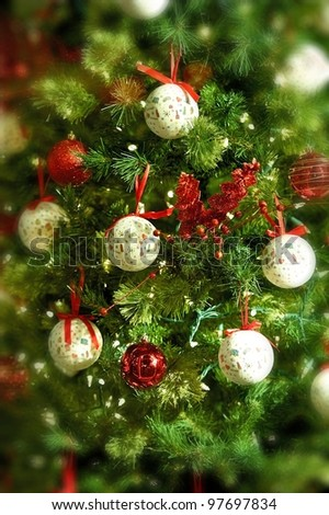 Christmas Background Tree Ornaments Vertical Stock Photo
