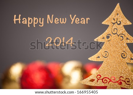 Christmas background. Christmas Tree with nice decorations - stock photo