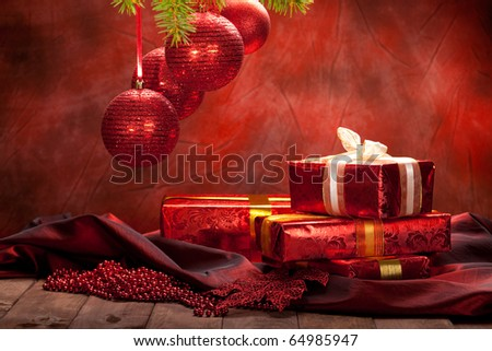 Christmas background - decoration red balls and gifts - stock photo