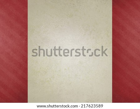 Christmas background design, red candy cane striped side panels on plain white paper background with copyspace, cute fun vintage background material, old faded red sidebar template - stock photo