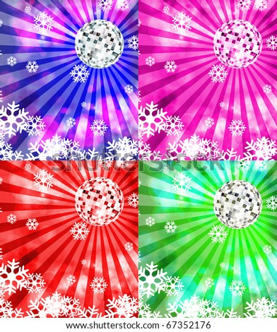 Christmas background. Disco ball and snowflakes - stock photo