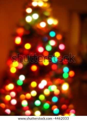 Christmas background featuring out of focus Christmas tree