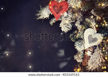 Christmas background. Fir branch with  decorations. - stock photo