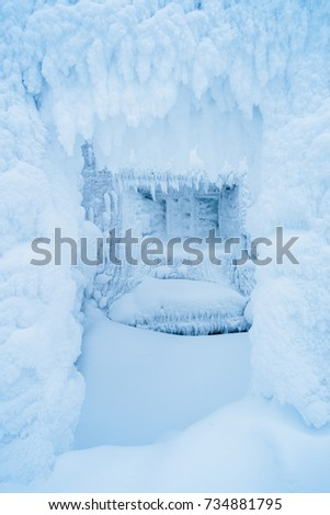 Christmas background for design. Room with a window in the frost and snow. Fabulous winter.