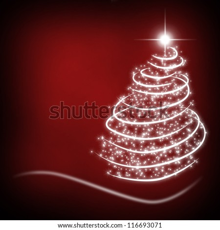 christmas background for your designs in red with a Christmas Tree - stock photo