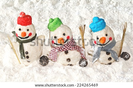 Christmas background Funny color snowmen