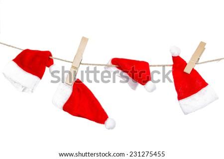 christmas background - funny santa laundry - stock photo