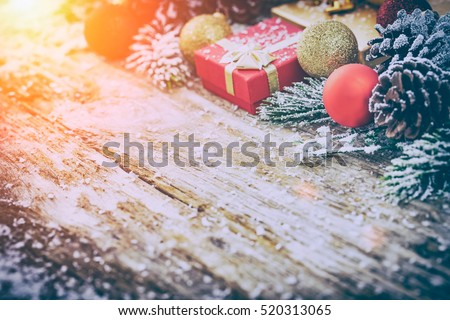 christmas background gift present holiday decoration wooden wood xmas snow box card ornament frame bauble border nature above holly abstract star tree concept - stock image