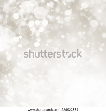 Christmas Background. Grey Holiday glowing Abstract Glitter Defocused Background With Blinking Stars and snow. Blurred Snowflakes Bokeh  - stock photo