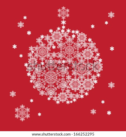 Christmas background hanging ball  silhouette formed  snowflakes - stock photo