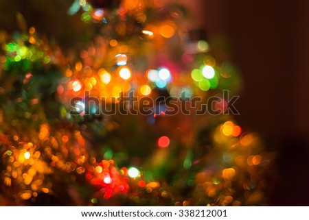 christmas background, image blur bokeh defocused lights decoration on christmas tree