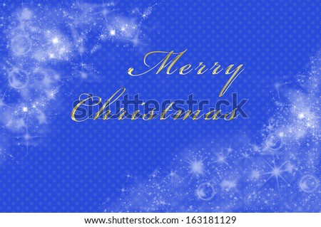 Christmas background in blue with merry Christmas written on it - stock photo