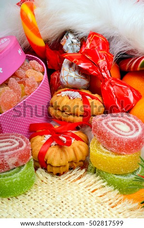Christmas background, lollipops, sweets, jellies and pastry.