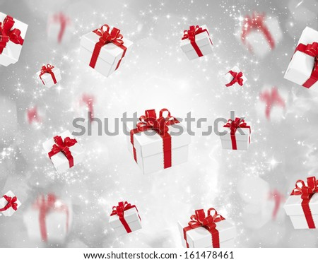 Christmas background - many flying gifts  - stock photo