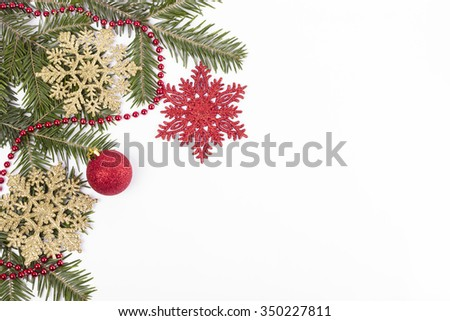 Christmas background - Merry Christmas.Christmas decoration. Christmas fir tree with decoration on a white background.