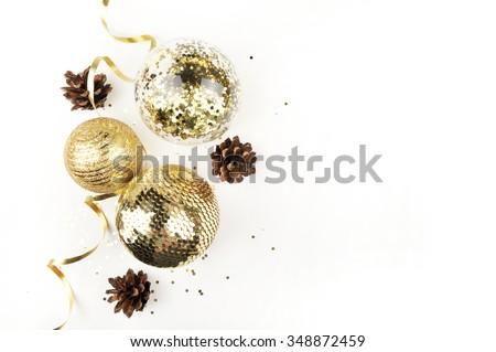 Christmas background. Mockup christmas. Table view and gold christmas items - stock photo