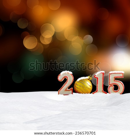 Christmas background - New year 2015 sign with snowdrift and abstract bokeh lights - stock photo