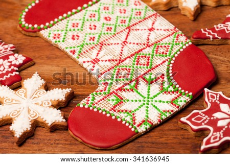 Christmas background of gingerbread decorated cookies