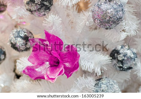 Christmas background of Red, Magenda flower decoration and silver balls on white tree - stock photo