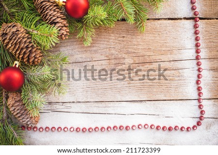 Christmas background on a wooden rustic old table - stock photo