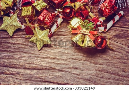 christmas background : on old wooden background in thailand