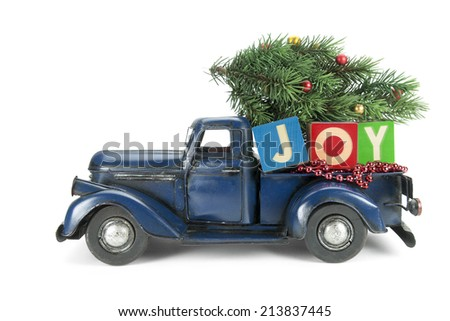 Christmas background. Pickup with christmas decoration - stock photo