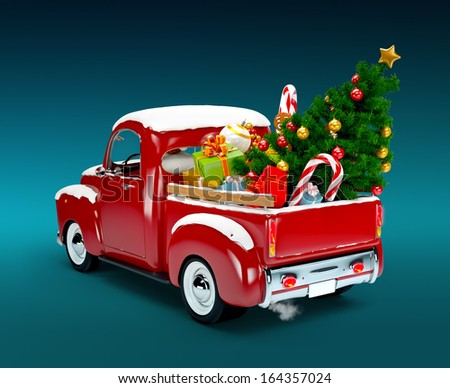 Christmas Background Pickup With Tree And Gifts Merry Happy New Year