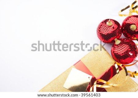 Christmas background present beautiful gold red setting with white space for copy - stock photo