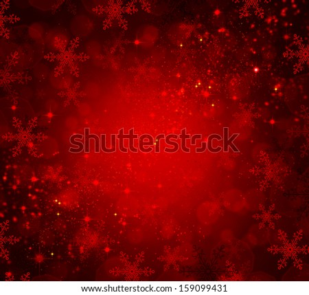 Christmas Background. Red Holiday Abstract Defocused Backdrop With Snowflakes and Stars. Blurred Bokeh - stock photo