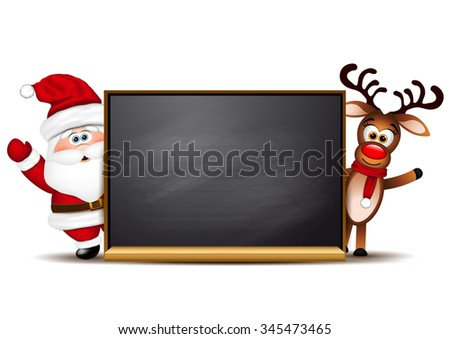 Christmas background reindeer and Santa Claus. - stock photo
