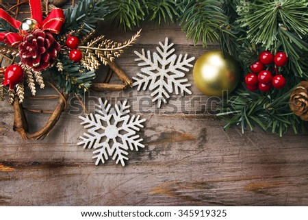 Christmas background, rustic style - stock photo