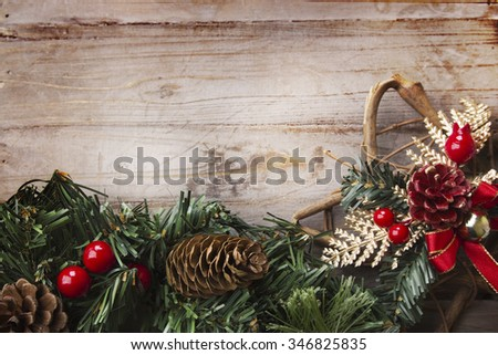 Christmas background, rustic style with copy space - stock photo
