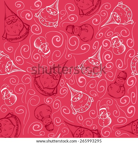 Christmas background. Seamless pattern with snowman and santa in pink. Vector illustration - stock photo