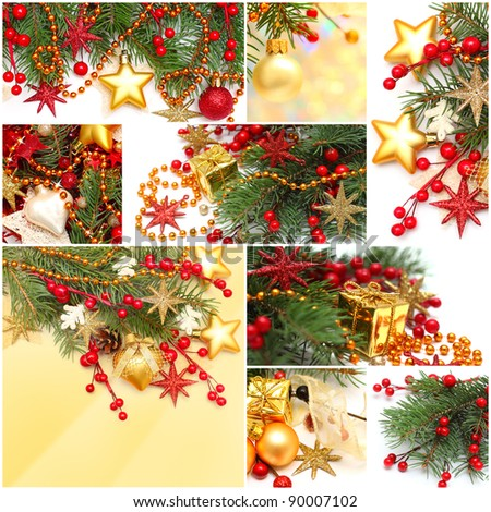 Christmas background - set of red decoration, gold star, Xmas tree branch, holly berry and garland