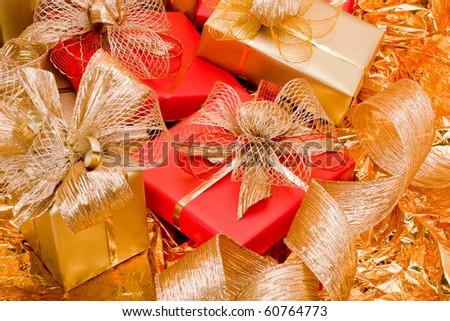 Christmas background. Shiny gifts. - stock photo