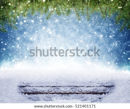 Christmas background, snow on wood under fir