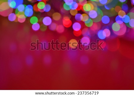 christmas background soft lights with copyspace red - stock photo