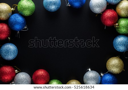 Christmas Background Theme Multicolored Christmas Balls Red Blue Green Silver