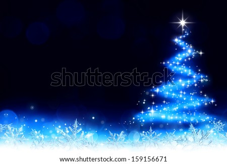 Christmas background - tree and snowflakes and stardust